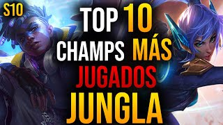 TOP 10 Campeones MÁS USADOS en JUNGLA de LEAGUE OF LEGENDS | GUÍA LOL S10