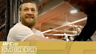 "On Episode 2 of UFC 246 Embedded, headliner Cowboy Cerrone enjoys the blue collar side of Sin City. Bantamweight Raquel Pennington and fiance Tecia Torres unwind with a dog park visit and pedicures. Lightweight Diego Ferreira arrives in town with his wife and son for their first fight week in Las Vegas. Irish star Conor McGregor fakes his way through an interview about college (American) football and gets in another training session at UFC Performance Institute. UFC 246 Embedded is an all-access, behind-the-scenes video blog leading up to the return of Conor McGregor on Saturday, January 18th. Order the Pay-Per-View at ESPNPlus.com/PPV     Connect with UFC Online and on Social Website: http://www.ufc.com Follow UFC Twitter: http://www.twitter.com/ufc Facebook: http://www.facebook.com/ufc Instagram: http://www.instagram.com/ufc Snapchat: UFC Periscope: http://Periscope.tv/ufc Twitch: https://www.twitch.tv/ufc   Follow ""The Notorious"" Conor McGregor Twitter: http://www.twitter.com/TheNotoriousMMA Facebook: https://www.facebook.com/thenotoriousmma Instagram: http://www.instagram.com/TheNotoriousMMA   Follow Donald ""Cowboy"" Cerrone Twitter: https://twitter.com/Cowboycerrone Instagram: http://instagram.com/cowboycerrone Facebook: https://www.facebook.com/DonaldCowboyCerrone   Follow Holly ""The Preacher's Daughter"" Holm Twitter https://twitter.com/HollyHolm Facebook https://www.facebook.com/HollyHolmUFCBantamweightChampion/?fref=ts Instagram https://www.instagram.com/hollyholm/?hl=en   Follow Raquel ""Rocky"" Pennington Twitter https://twitter.com/RockyPMMA Instagram https://www.instagram.com/raquel_pennington Facebook https://www.facebook.com/Raquel-Rocky-Pennington-189720294409605   Follow Anthony ""Showtime"" Pettis Twitter https://twitter.com/Showtimepettis Facebook https://www.facebook.com/AnthonyShowtimePettis/?fref=ts Instagram https://www.instagram.com/showtimepettis/?hl=en   Follow Diego Ferreira Twitter https://twitter.com/DiegoUFCTX Facebook https://www.facebook.com/diegoufctx/ Instagram https://www.instagram.com/diegoufctx/   About UFC® UFC® is the world's premier mixed martial arts organization (MMA), with more than 318 million fans and 80 million social media followers. The organization produces more than 40 live events annually in some of the most prestigious arenas around the world, while broadcasting to nearly one billion TV households across more than 170 countries. UFC's athlete roster features the world's best MMA athletes representing more than 65 countries. The organization's digital offerings include UFC FIGHT PASS®, one of the world's leading streaming services for combat sports. UFC was acquired in 2016 by global entertainment, sports and content company Endeavor, along with strategic investors Silver Lake Partners and KKR. UFC is headquartered in Las Vegas, Nevada. For more information, visit UFC.com and follow UFC at Facebook.com/UFC, Twitter, Snapchat and Instagram: @UFC."