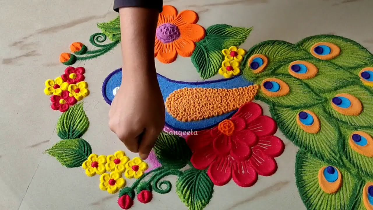 peacock rangoli design by sangeeta