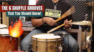 THE 6 SHUFFLE GROOVES That YOU SHOULD KNOW! 🤓🥁*Practice Aid Video*