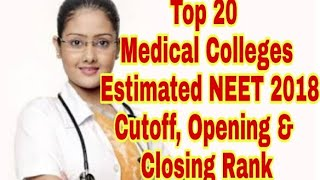 Top 20 Medical Colleges Estimated NEET 2018 Cutoff, Opening & Closing Rank For Open Categories