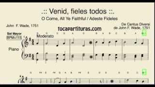 Adeste Fideles Partitura Fácil De Piano En Sol Mayor Venid Fieles Villancico O Come All Ye Faithful