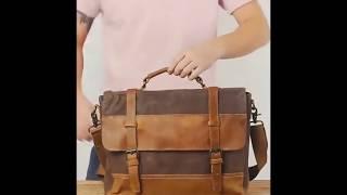 Mens Messenger Bag Waterproof Canvas Leather Computer Laptop Bag 15 6 Inch Briefcase Case -- Woosir