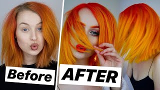 HAIR MAKEOVER AT HOME - Bright Yellow Orange Ombre | Evelina Forsell
