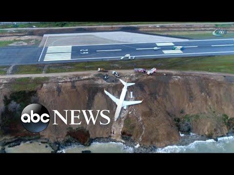 Boeing 737 passenger jet skids off runway, dangles off cliff in Turkey