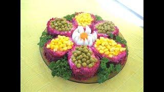 Салат овощной с сыром и яйцами. Ромашка. Просто, вкусно,красиво!