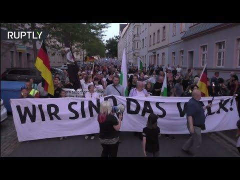 German far-right supporters rally to mark one year since Chemnitz stabbing