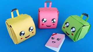 How To Make A Paper School Bag | DIY Origami Crafts | Easy Origami Step By Step / DIY BACK TO SCHOOL