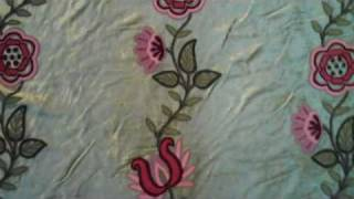 Crewel Fabric Floral Vine Creeper Green Cotton Velvet