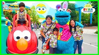 Ryan meets Cookie Monster at Universal Studios Amusement Park with Playground for Kids!
