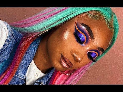 Multi Color Hair + Purple Neon Cut Crease Makeup Look | Tinashe Hair | MakeupTiffanyJ