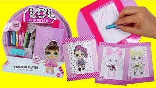 LOL Surprise Fashion Plate Draw And Color LOL Doll DIY Craft Activity Set