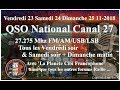 Vendredi 23 Novembre 2018 21H00 QSO National du canal 27