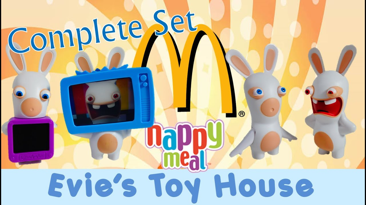 Rabbids McDonalds Happy Meal Toys Review Complete Set | Evies Toy House