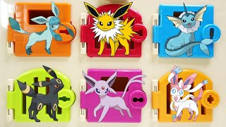 Eevee's Evolution Surprise Trapped Doors Box Rescue and Catch Pikachu!