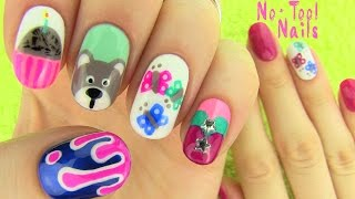 Nails Without Nail Art Tools! 5 Nail Art Designs!