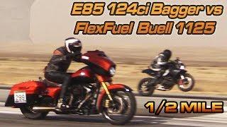 E85 Street Glide vs Buell 1125CR - 1/2 Mile