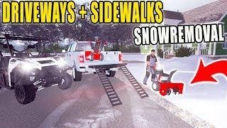 WALK BEHIND SNOWBLOWER   CLEARING DRIVEWAYS + SIDEWALKS   FARMING SIMULATOR 2017