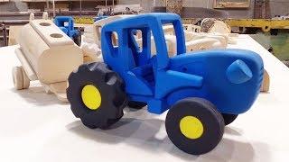 Как делают настоящую игрушку Синий трактор из дерева для детей
