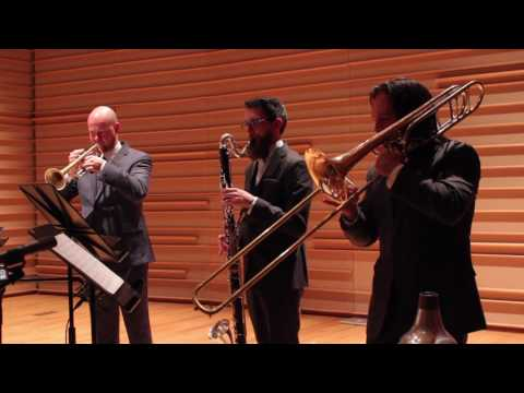 """rLung,"" a setting of the Heart Sutra in Sanskrit, for baritone singer, bass clarinet, trumpet, and trombone. performed by loadbang."