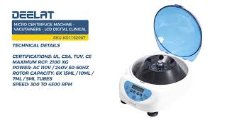 Micro Centrifuge Machine - 6x15ml/10ml/7ml/5ml - Vacutainers - LCD Digital Clinical