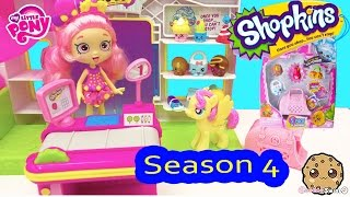 Season 4 Shopkins 5 Pack Unboxing with Blind Bag at Small Mart Playset with POP My Little Pony