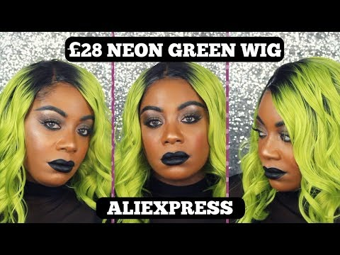 OMBRE NEON Green Wig| LACE FRONT ALIEXPRESS | FULL REVIEW & IN-DEPTH TUTORIAL