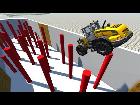 Falling Cars Crushing On Red Poles - Beamng Drive