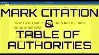 Mark Citation Use    How To Use Mark Citation    Create Table Of Authorities In Word
