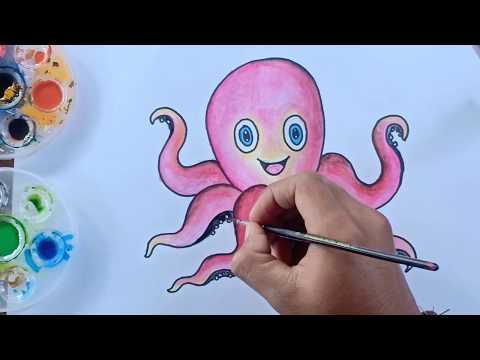 Cara Mewarnai Gurita Dengan Crayon Greebel Untuk Anak Tk Dan Sd