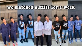 WEARING MATCHING OUTFITS TO SCHOOL FOR A WEEK !!