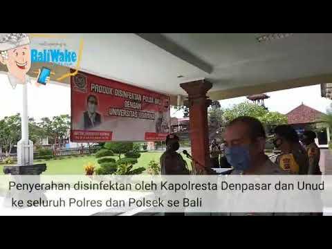Polda Bali dan Farmasi Unud Distrbusikan Ribuan Liter Disinfektan Raman Lingkungan