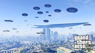 هجوم المخلوقات الفضائية على مدينة لوس سانتوس في جي تي أي 5   GTA V Alien Invasion Mod