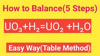 UO3 +H2 =UO2 +H2O Balanced Equation||Uranium Trioxide Plus Hydrogen Balanced Equation