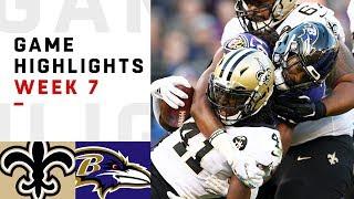Saints vs. Ravens Week 7 Highlights | NFL 2018