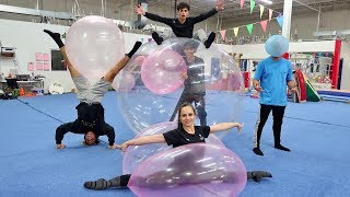 GYMNASTICS INSIDE WUBBLE BUBBLE BALL!