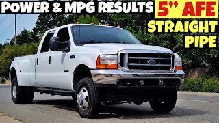 """2001 F350 Powerstroke 7.3 - AFE 5"""" Straight Pipe Exhaust, Performance and MPG Testing Results"""