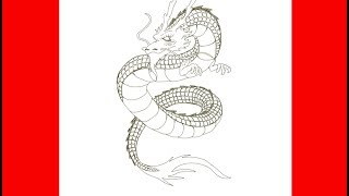 How To Draw A Japanese Dragon |Tattoo Design | Speed Drawing