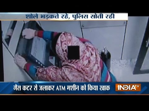 CCTV: Man Caught using Gas Cutter to Loot ATM in Greater Noida