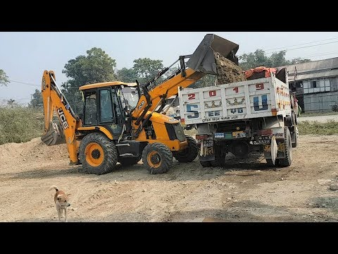 JCB Backhoe Loader Loading Gravel in Dump Truck - JCB Working Video