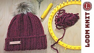 LOOM KNIT Hat Tutorial Easy | Strickring | Gorro Telar | Tricotin | نول | Obręcze Dziewiarskie
