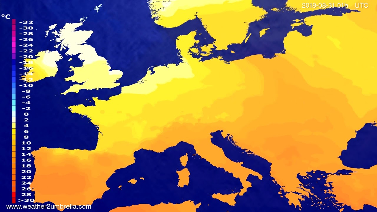 Temperature forecast Europe 2018-08-27