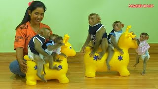 Adorable Kako Play Riding Yellow Deer Toy With Cute Baby Luna And Tiny Nina