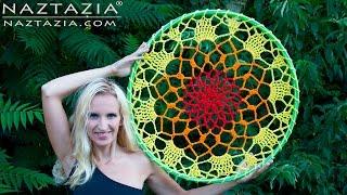 DIY Tutorial - How To Crochet Mandala Dreamcatcher - Sun Dream Catcher Hula Hoop Yarn Bombing