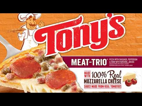 Tony's Meat Trio Pizza review. Food review frozen food review.