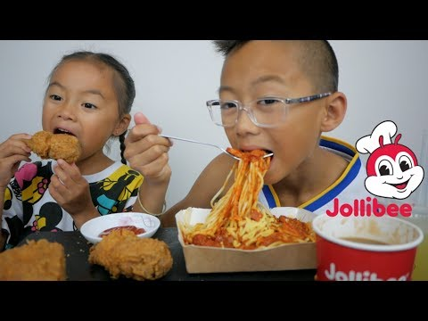 Jollibee Fried Chicken & Spaghetti | Brother & Sister MUKBANG | N.E Let's Eat