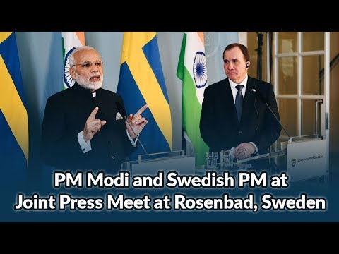 PM Modi and Swedish PM at Joint Press Meet at Rosenbad, Sweden