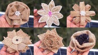 Easy New 6 Type Of Jute Burlap Flowers Making Ideas || Jute Burlap Flowers Craft Tutorial