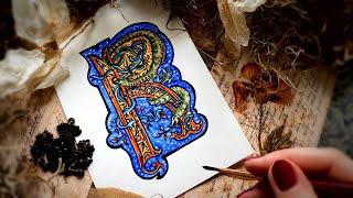 How To Draw Illuminated Letter R | Renaissance Illuminated Manuscript Tutorial ~ Watercolor Pencils