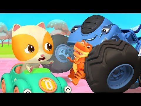 monster truck grabs baby kitten s toy police truck nursery r